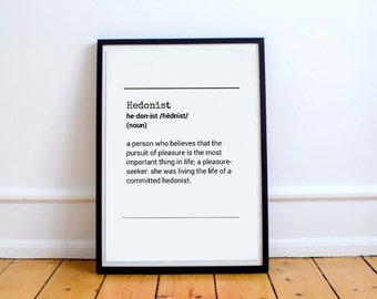 Definition Hedonist - Definition Hedonist Art Funny Art and Collectibles Typography Art Printable Print Download Wall Decor Art Typography