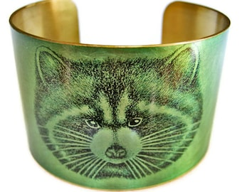 RACCOON cuff bracelet brass Gifts for her