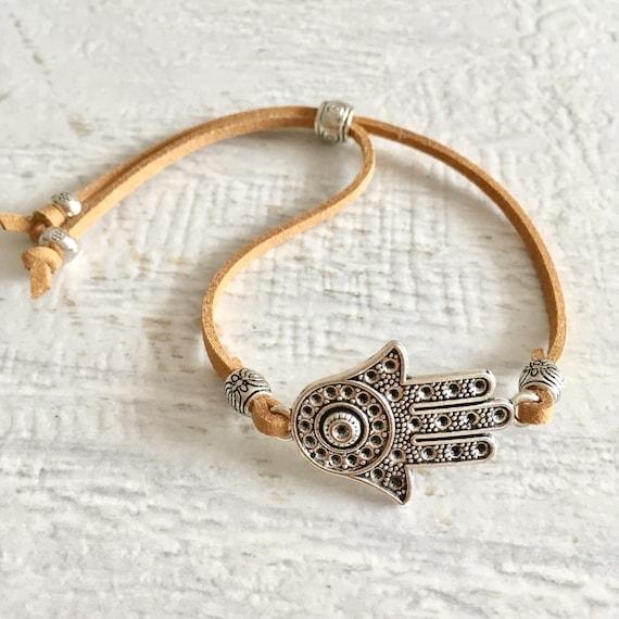 boho jewelry, hamsa hand faux suede bracelet, beach gypsy jewelry