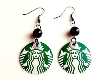 Upcycled Starbucks Earrings ELLE Magazine Feature Celebrity Earrings - Jewelry  Trending Now Women Gift Eco Friendly Sale Jewelry R25