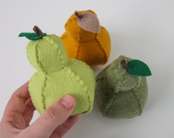 Felt Food Pear, Pretend Play, Play Kitchen, Play Shop, Imaginative Play, Learning Tool, Soft Toy