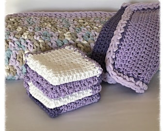 Handmade 6-Piece Lavender/Purple Baby Blanket Gift Set