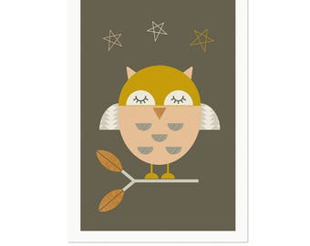 Little Owl Nursery Art, Kids Wall Art, Modern Nursery Decor, Modern Nursery Art, Modern Kids Room Art.