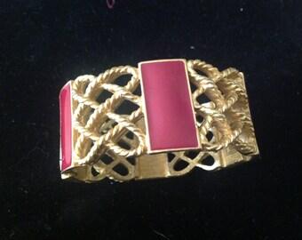 Sale! Monet Vintage Clamper Gold Tone Bracelet