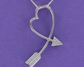 Arrow Heart Necklace - 925 Sterling Silver with CZ on Love Gift Card