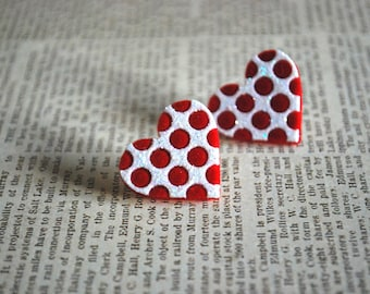 Red Heart Earrings -- Red Heart Studs, Polkadotted Velvet Heart Earrings, Big Red Hearts, Silver