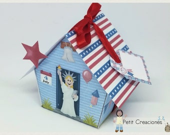 "PRINTABLE GIFT  box ""America house"" DIY, treat box, place holder, gift idea for American Independence day, July 4"