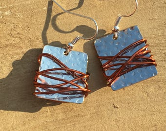 Silver and copper mixed metal squares