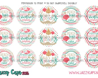 "Bottle Cap Images, Cute Saying Images, 1"" Circle Image, Printed Precut: Mermaid Kisses and Starfish- 1"" Bottle Cap Cute Sayings Sassy Pants"