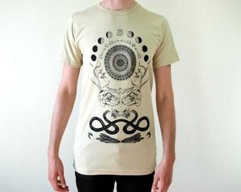 Rabbit Skull Antler Moon Phase Collage Tan Punk Screen Print T-Shirt