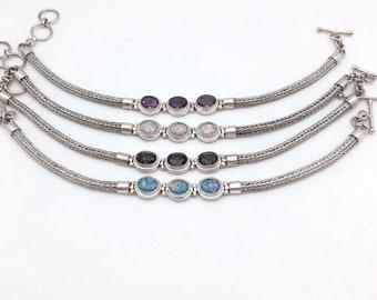 Triple Stone Bali Toggle Bracelet