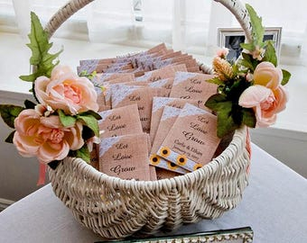 Let Love Grow, Seed Packets, Wedding Favors, Thank You Favors, Sunflower Seed Packets, Wedding Seed Packets, Seed Packet Favors, 50 Complete