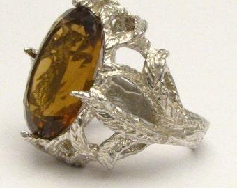 Handmade Sterling Silver Faceted Whiskey Quartz Ring