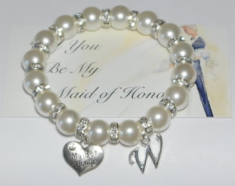 maid of honor bracelet - initial bracelet - will you be my - bridesmaid gift - wedding jewelry - personalized - wedding gift