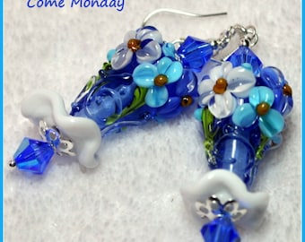 Blue and white Earrings,Floral Lampwork Earrings,Dangle Earrings,Flower Earrings,Colorful Earrings - COME MONDAY
