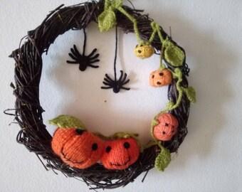Halloween Crochet Wreath Crochet Pumpkins Halloween Gift Gift Cute Crochet Gift Natural Branches Housewarming Crochet Décor Wall Door Décor