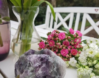 Raw fluorite candle holder