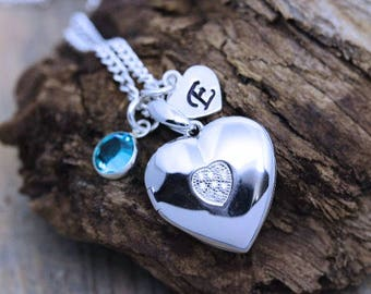 Large personalized heart lockets, Solid sterling silver Heart locket Necklace, choose custom charms, Silver Locket Choose chain R- 46