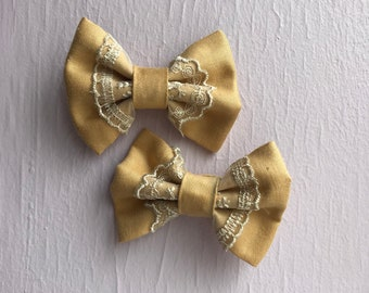"""Set of two - Mustard Lace 3"""" Hair Bows"""