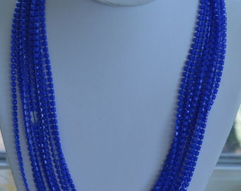 Pretty Vintage Royal Blue Plastic Beaded Multi-Strand Necklace (AH1)