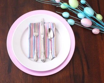 6 Purple Pink Striped Easter or Spring Cloth Dinner Napkins or Easter Placemats Spring Placemats Easter Decor Spring Decor Home and Living