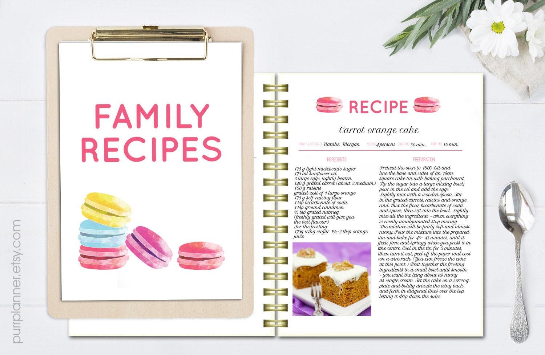 Aquarell Rezept Vorlage druckbare Kochbuch editierbare