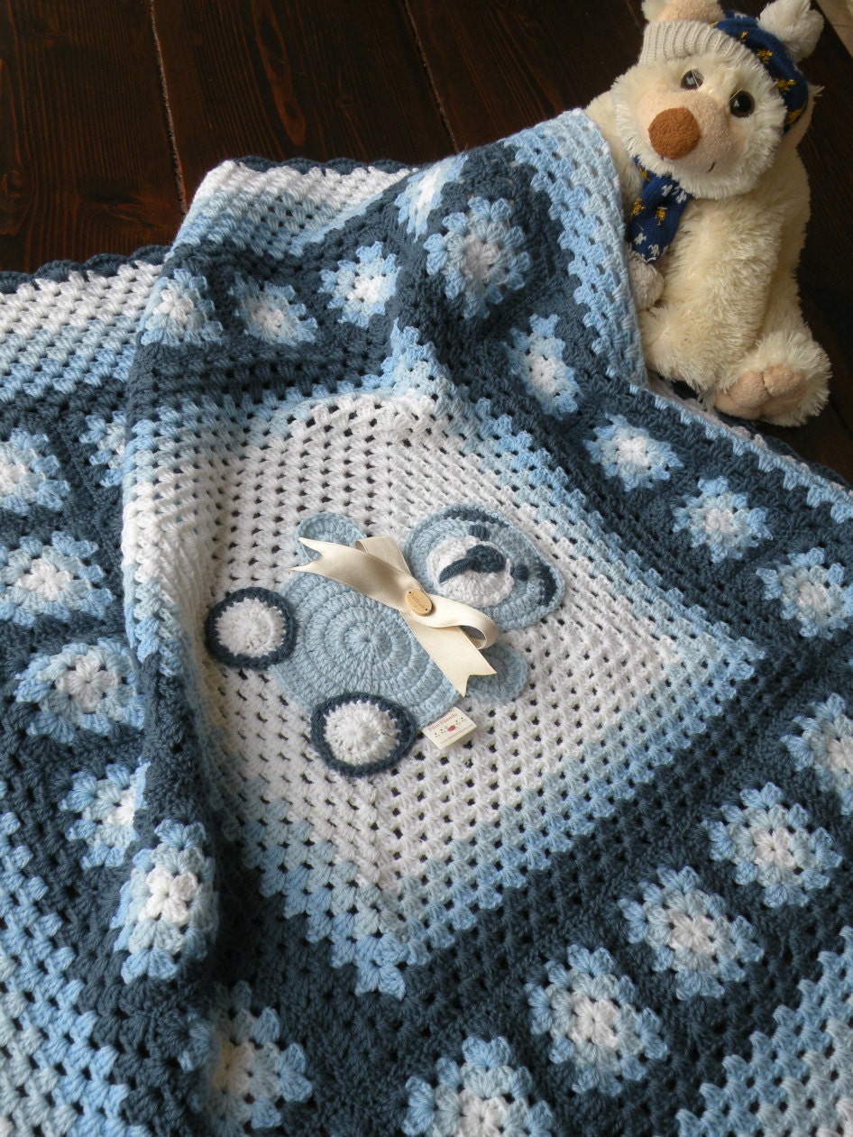 Preferenza Copertina bimbo con piastrelle lavorate all'uncinetto. ZX91