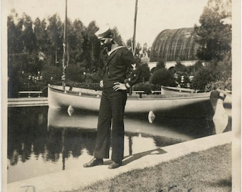 vintage photo 1920 Sailor Man Dennis Carter By Boat Botanical Gardens