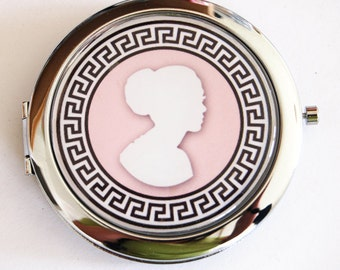 Compact mirror, Cameo compact mirror, pink mirror, mirror, purse mirror, double sided mirror, gift for her (2167)