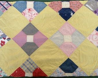 Vintage Quilt Piece Repurpose Primitive Patchwork Bowtie Pattern Cutter Bow Tie Quilt Yellow