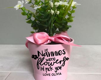 Pink flower pot etsy mothers day flower pot gift personalised plant pot for nanny grandma nana mightylinksfo