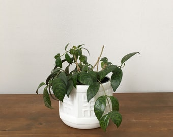 milk glass asian chinoiserie planter