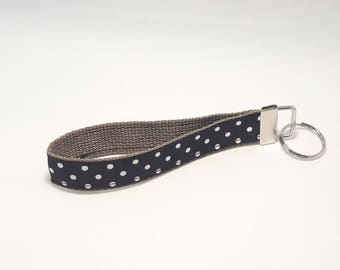 Keychain / Wristlet / Key Fob / Tan Webbing, Black Ribbon with Off White Polka Dots