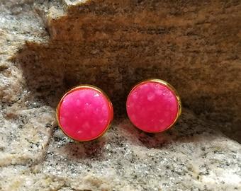 Hot Pink Faux Druzy Earrings