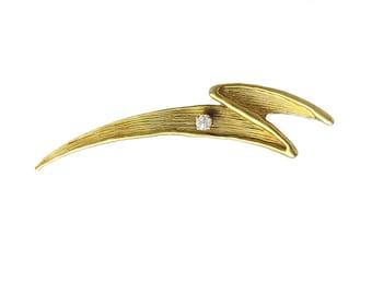 14K Gold and Diamond Lightning Brooch