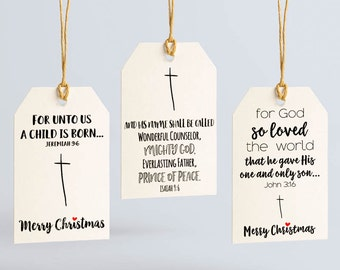 Christian Gift Tags - Bible Verse Tag - Holiday Gift Tags Variety Pack - Christmas Tags - Christmas Gift Tags - Holiday Tag - Religious Tags