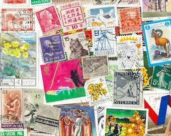 1000 worldwide postage stamps, large and small, mostly used. New cheaper stock. Ideal for collage,book covers,bookmarks, or for collecting.