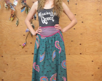 Vintage 80's Beautiful Teal & Pink Gem Tone Paisley A-line Wrap Midi Skirt S/M