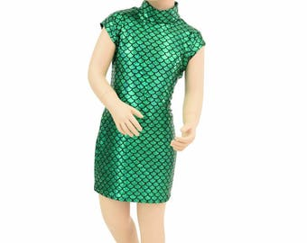Toddlers and Girls Green Round Scale Celia Dress with Mock Turtle neck and Mini Cap Sleeves Sizes 2T 3T 4T and 5-12 - 154872