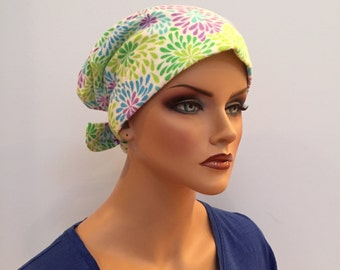 Krystal Women's Flannel Head Scarf, Cancer Hat, Chemo Headwear, Alopecia Head Wrap, Head Cover, Hair Loss, Cancer Gift - Bright Flowers.
