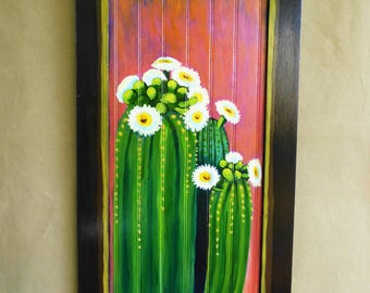 Cactus painting, Cactus Wall Art, Southwestern decor, southwest cactus painting, desert sunset, up cycled cabinet, painting on wood,