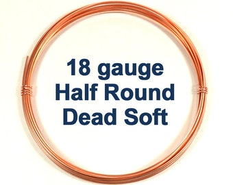 18ga HR DS Half Round Copper Wire - Choose Your Length