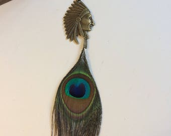 Peacock feather and Indian necklace