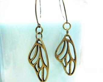BRONZE WING EARRINGS - dragonfly wing dangle earrings