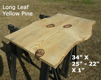 Live Edge Pub Table Top, Finished Yellow Pine Wood Slab, Natural Edge Table Top, Work Station Desk Top, Kitchen Table, Coffee Table 2074