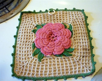 Crocheted Rose vintage potholder
