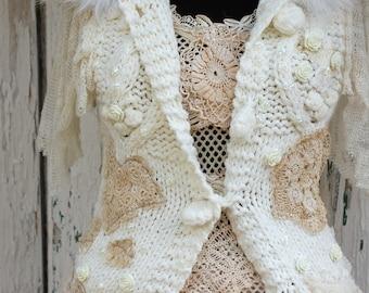 Sweater, Snow white,upcycled clothing ,shabby chic,beaded , wedding jacket ,hooded sweater, winter fashion, victorian,steampunk,women medium