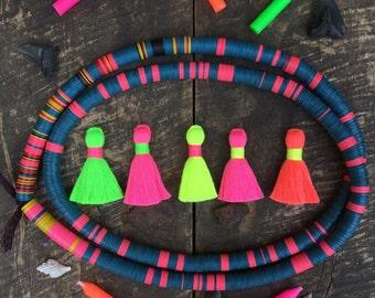 "Multi NEON Mini Tassels, Fluorescent Cotton Blend Handmade Tassels, Boho Jewelry Making Tassels, DIY Craft Supply 1.25"", You Choose 4 Colors"