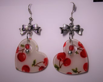 Cherry heart earring