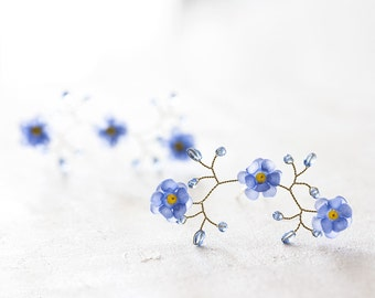 824 Flower hair pins, Pins for bride, Forget-me-not hair accessories, Blue flower pins, Gold hair pins, Hair accessories, Wedding hair piece
